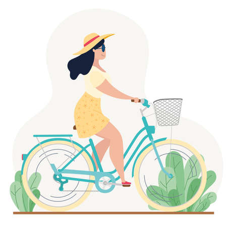 Woman riding a classic bicycle