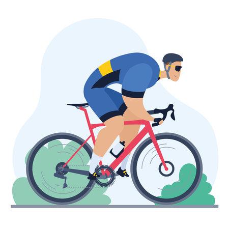 Professional cyclist on a road bike