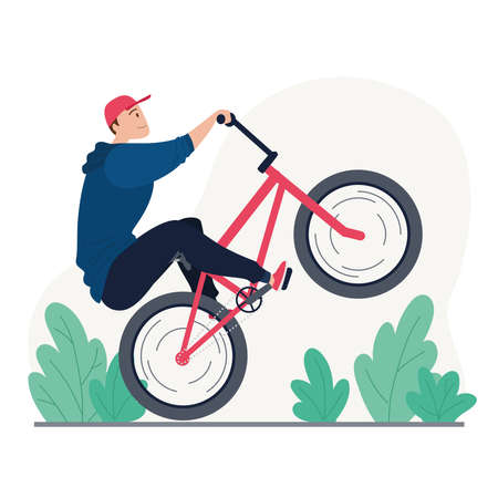 Young man riding a bmx bike Illusztráció