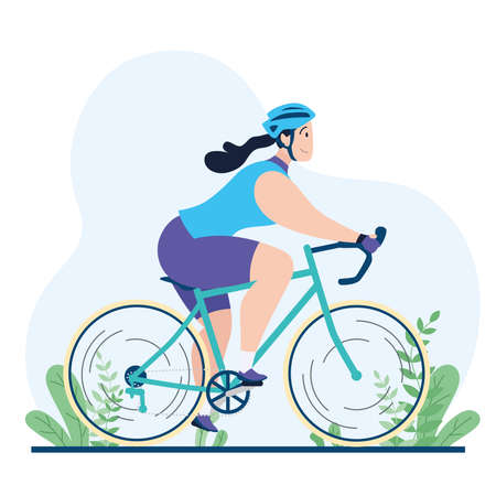 Professional caucasian woman cyclist on a road bike