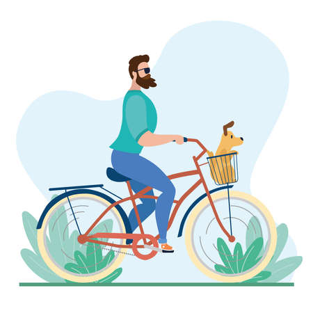 Man riding a classic bicycle with a dog in a basket