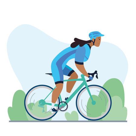 Professional woman cyclist on a road bike