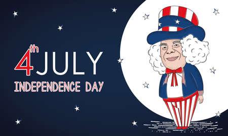American man cartoon USA Independence day Illusztráció