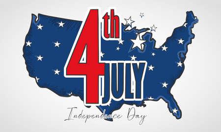 United States map with stars USA Independence day Illusztráció