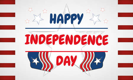 USA Independence day with text and star sketch