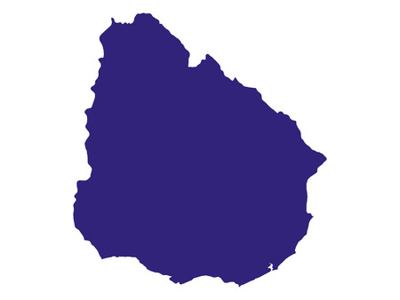 Vector illustration of the Blue Map of Uruguay