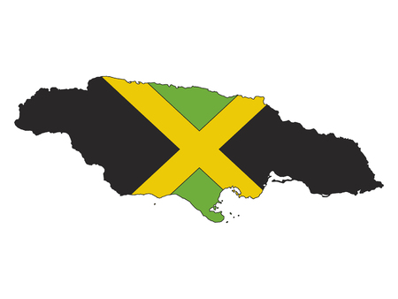 Jamaica Map and Flag Combined