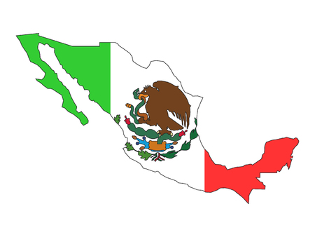 Mexico Map and Flag Combined Stock Illustratie