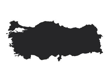 Black Map of Turkey Vettoriali