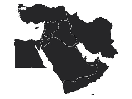 Black Map of the Middle East Illustration