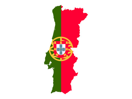 Portugal Map and Flag Combined 일러스트