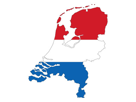Netherlands Map and Flag Combined