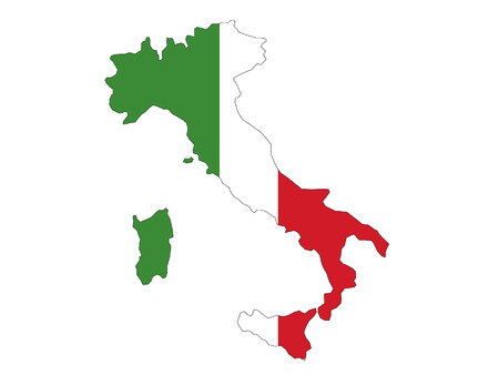 Italy Map and Flag Combined