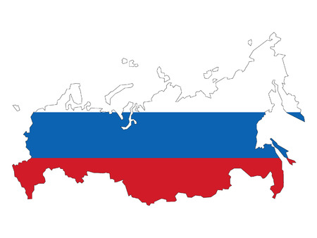 Russia Map and Flag Combined Ilustrace
