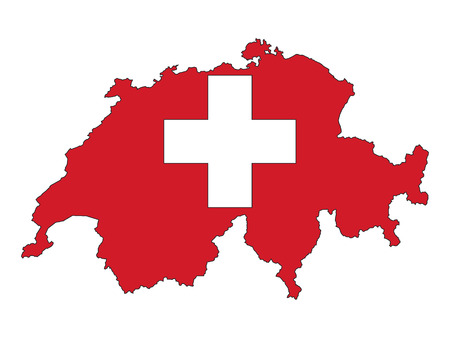 Switzerland Map and Flag Combined