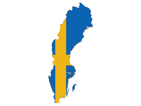 Sweden Map and Flag Combined