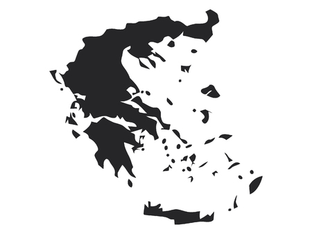 Vector illustration of the Black Map of Greece