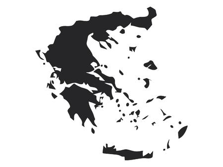 Vector illustration of the Black Map of Greece Archivio Fotografico - 112981845
