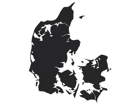 Vector illustration of the Black Map of Denmark