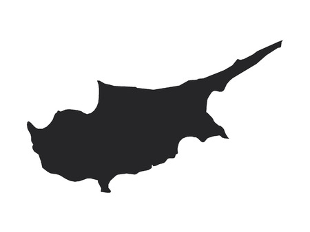 Vector illustration of the Black Map of Cyprus