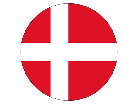 Vector illustration of the Round Flag of Denmark