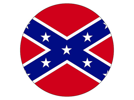 Vector illustration of the Round Confederate Flag