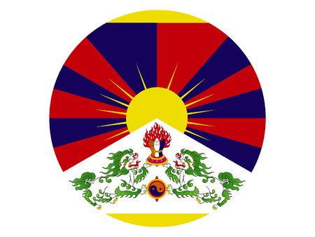 Vector illustration of the Round Tibet Flag