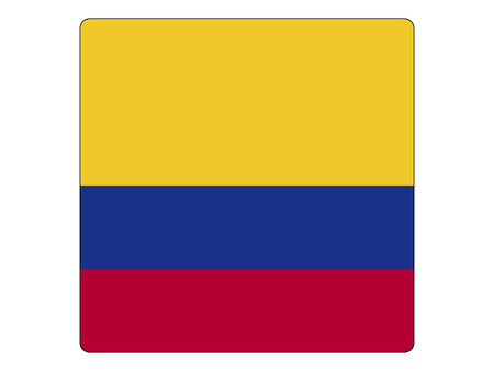 Vector illustration of the Square Flag of Colombia Foto de archivo - 118917731