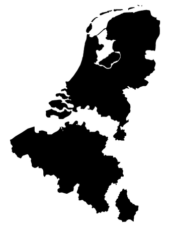 Black Map of Benelux (added distance between countries)