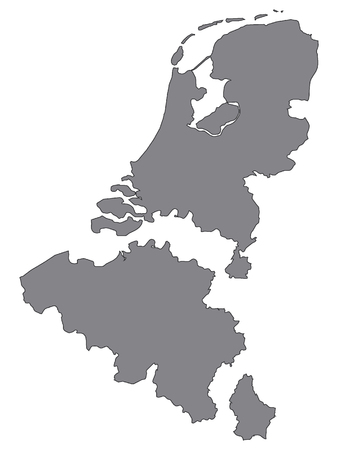 Gray Map of Benelux (added distance between countries) Illustration