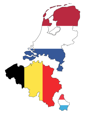 Map of Benelux (with national flags and added distance between countries)