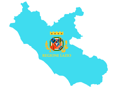 Combined Map and Flag of the Italian Region of Lazio