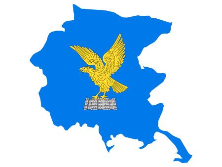 Combined Map and Flag of the Italian Region of Friuli-Venezia Giulia