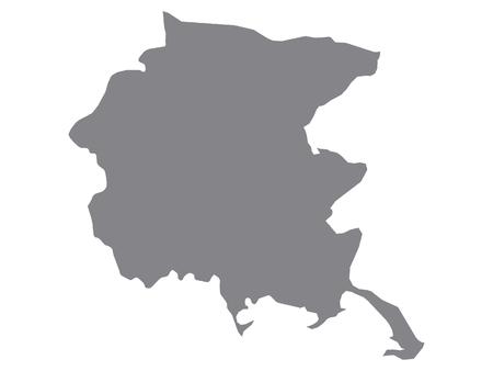 Gray Map of the Italian Region of Friuli-Venezia Giulia