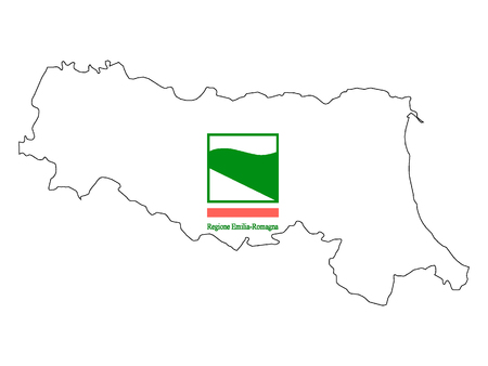 Combined Map and Flag of the Italian Region of Emilia-Romagna Stok Fotoğraf - 118917807