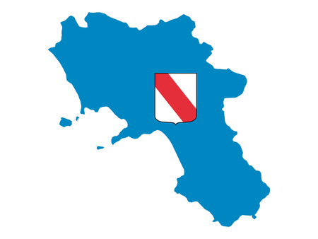 Combined Map and Flag of the Italian Region of Campania Stok Fotoğraf - 118917872