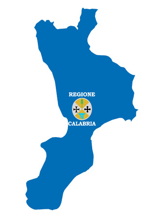 Combined Map and Flag of the Italian Region of Calabria 일러스트