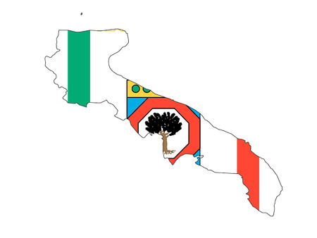 Combined Map and Flag of the Italian Region of Apulia