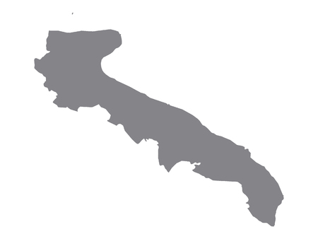 Gray Map of the Italian Region of Apulia Illustration
