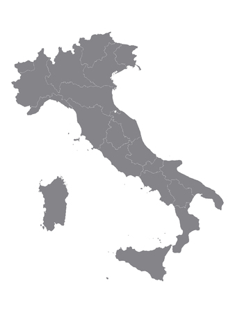 Gray Map of the Regions of Italy