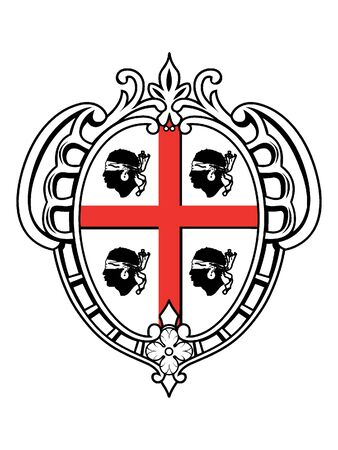 Coat of Arms of the Italian region of Sardinia Çizim
