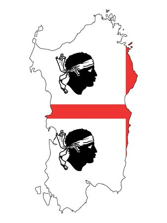 Combined Map and Flag of the Italian region of Sardinia