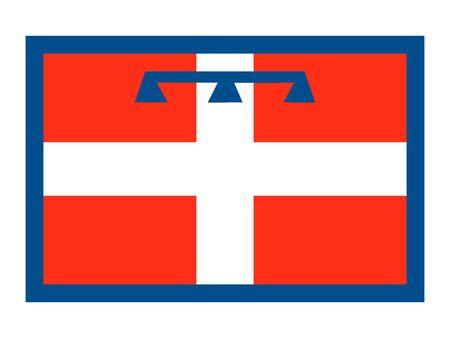 Flag of Italian region of Piedmont Ilustrace