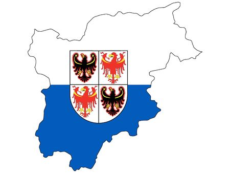 Combined Map and Flag of the Italian region of Trentino-South Tyrol