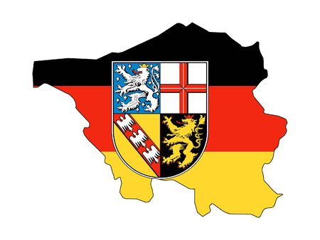 Combined Flag and Map of the German State of Saarland Stok Fotoğraf - 131060916