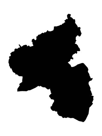 Black Map of the German State of Rhineland-Palatinate Stock Illustratie