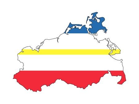 Combined Flag and Map of the German State of Mecklenburg-Vorpommern Stock Illustratie