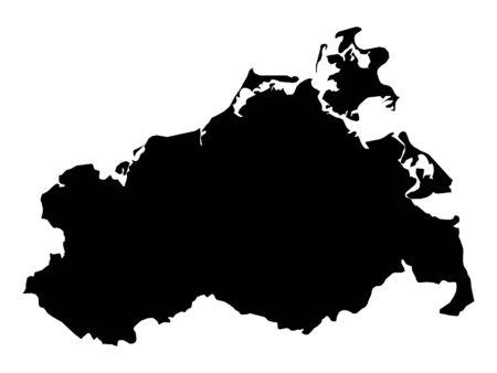 Black Map of the German State of Mecklenburg-Vorpommern