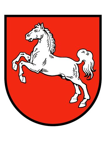 Coat of arms of the German State of Lower Saxony Standard-Bild - 131061104