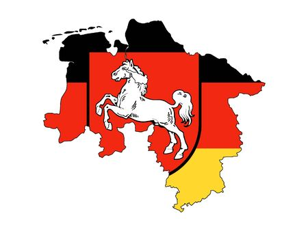 Combined Flag and Map of the German State of Lower Saxony Standard-Bild - 131061109